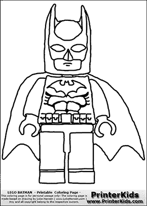 Lego Batman - Front View with Cape - Coloring Page