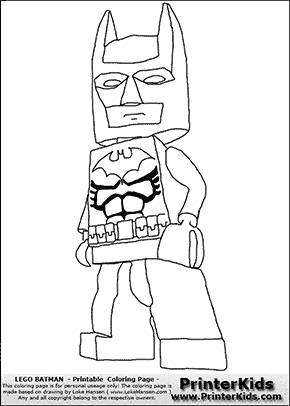 Lego Batman with cloak - Lego Batman and Robin Xbox game - Coloring Page