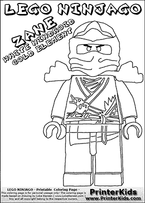 Lego NINJAGO - ZANE - Coloring Page