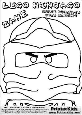 Lego NINJAGO - ZANES HEAD - Coloring Page