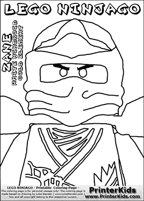 Lego NINJAGO - ZANES Chest and Head - Coloring Page