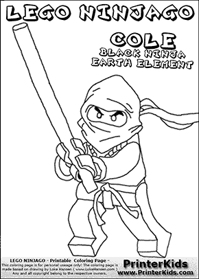 Lego NINJAGO - COLE WITH BO STICK - Coloring Page