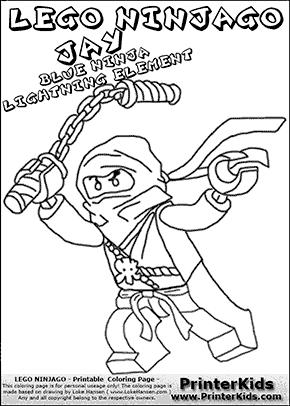 Lego NINJAGO - JAY WITH NUNCHUCK - Coloring Page