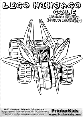 Lego NINJAGO - COLE IN RACER COMPLETE - Coloring Page
