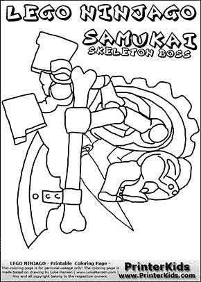 Lego NINJAGO - SAMUKAI Axe and Knife- Coloring Page