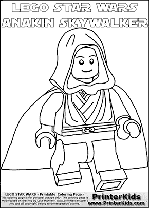 Lego Star Wars - Young Anakin Skywalker - Walking in Cloak (with colorable text) - Coloring Page