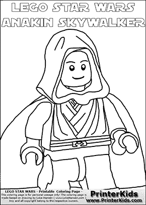Lego Star Wars - Clipped Young Anakin Skywalker - Walking in Cloak (with colorable text) - Coloring Page