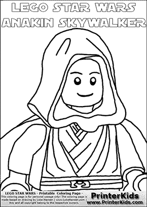 Lego Star Wars - CloseUp Young Anakin Skywalker - Walking in Cloak (with colorable text) - Coloring Page