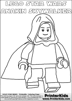 Lego Star Wars - Young Anakin Skywalker - Unpatterned Cloth - Walking in Cloak (with colorable text) - Coloring Page
