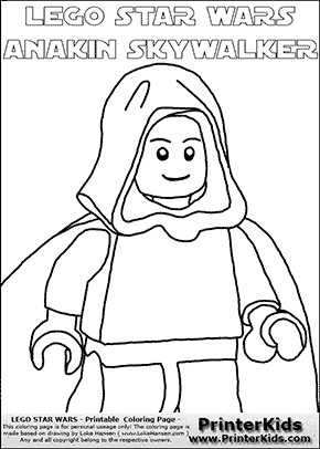 Lego Star Wars - CloseUp Young Anakin Skywalker - Unpatterned Cloth - Walking in Cloak (with colorable text) - Coloring Page