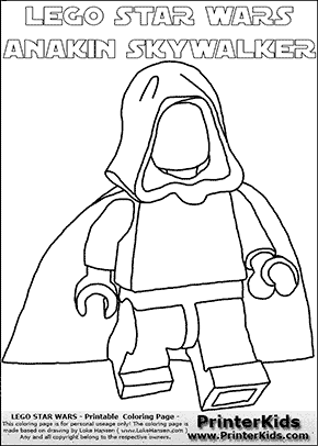 Lego Star Wars - Blank - Young Anakin Skywalker - Walking in Cloak (with colorable text) - Coloring Page