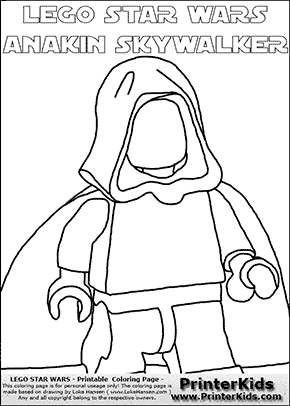 Lego Star Wars - Blank - Clipped Young Anakin Skywalker - Walking in Cloak (with colorable text) - Coloring Page