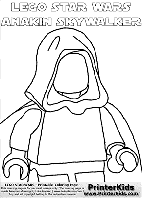 Lego Star Wars - Blank - CloseUp Young Anakin Skywalker - Walking in Cloak (with colorable text) - Coloring Page