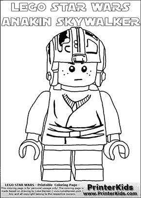 Lego Star Wars - Young Anakin Skywalker - Pilot with Helmet (with colorable text) - Coloring Page