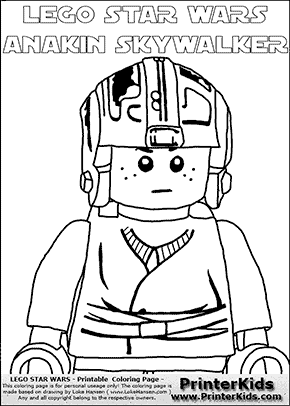 Lego Star Wars - CloseUp Young Anakin Skywalker - Pilot with Helmet  (with colorable text) - Coloring Page