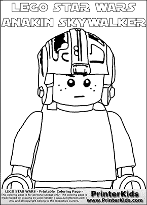 Lego Star Wars - CloseUp Young Anakin Skywalker - Pilot with Helmet - Patternless Cloth -  (with colorable text) - Coloring Page