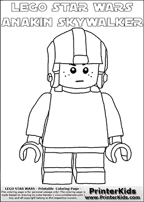 Lego Star Wars - Young Anakin Skywalker - Pilot with Helmet - Patternless Cloth and Helmet - (with colorable text) - Coloring Page