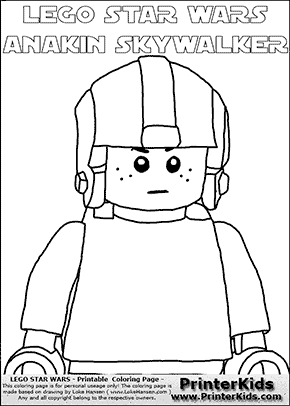 Lego Star Wars - CloseUp Young Anakin Skywalker - Pilot with Helmet - Patternless Cloth and Helmet -  (with colorable text) - Coloring Page