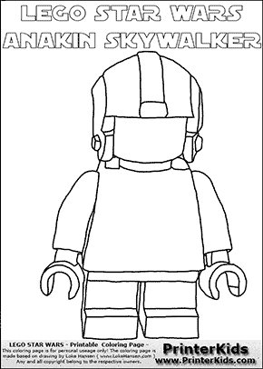 Lego Star Wars - Blank - Young Anakin Skywalker - Pilot with Helmet (with colorable text) - Coloring Page