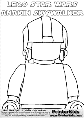 Lego Star Wars - Blank - CloseUp Young Anakin Skywalker - Pilot with Helmet  (with colorable text) - Coloring Page
