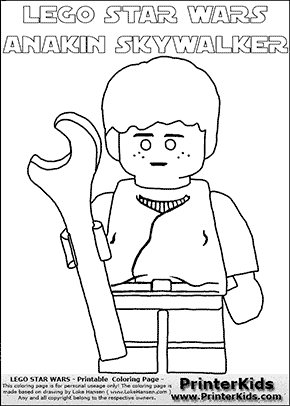Lego Star Wars - Young Anakin Skywalker - Mechanic with Wrench (with colorable text) - Coloring Page