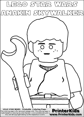 Lego Star Wars - CloseUp Young Anakin Skywalker - Mechanic with Wrench (with colorable text) - Coloring Page