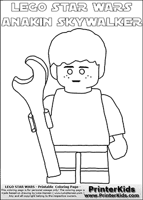 Lego Star Wars - Young Anakin Skywalker - Mechanic with Wrench - Patternless Cloth (with colorable text) - Coloring Page