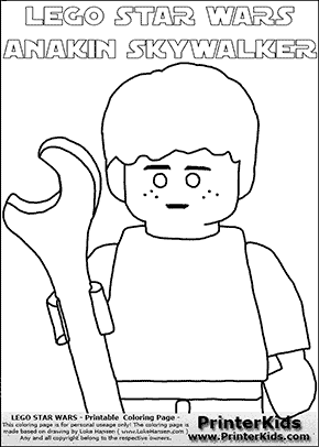 Lego Star Wars - CloseUp Young Anakin Skywalker - Mechanic with Wrench - Patternless Cloth (with colorable text) - Coloring Page