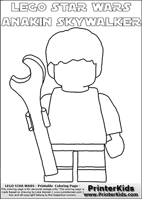 Lego Star Wars - Blank - Young Anakin Skywalker - Mechanic with Wrench (with colorable text) - Coloring Page