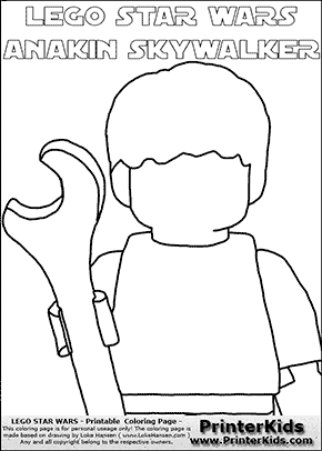 Lego Star Wars - Blank - CloseUp Young Anakin Skywalker - Mechanic with Wrench (with colorable text) - Coloring Page