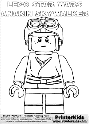 Lego Star Wars - Young Anakin Skywalker - Racer with Helmet and Racing Glasses (with colorable text) - Coloring Page
