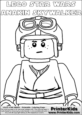 Lego Star Wars - CloseUp Young Anakin Skywalker - Racer with Helmet and Racing Glasses (with colorable text) - Coloring Page