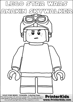 Lego Star Wars - Young Anakin Skywalker - Racer with Helmet and Racing Glasses - Patternless Cloth - (with colorable text) - Coloring Page
