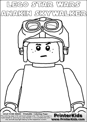 Lego Star Wars - CloseUp Young Anakin Skywalker - Racer with Helmet and Racing Glasses - Patternless Cloth - (with colorable text) - Coloring Page