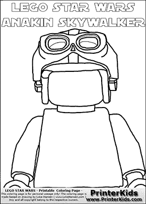 Lego Star Wars - Blank - CloseUp Young Anakin Skywalker - Racer with Helmet and Racing Glasses (with colorable text) - Coloring Page
