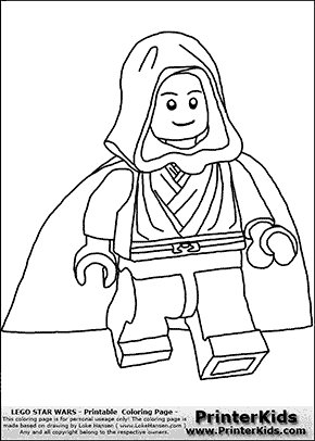 Lego Star Wars - Young Anakin Skywalker - Walking in Cloak - Coloring Page