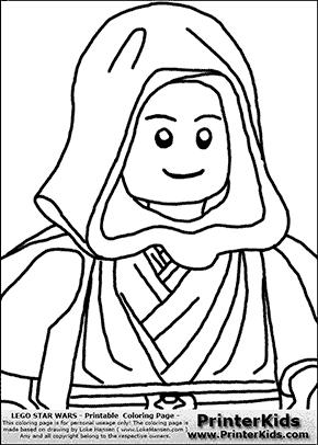 Lego Star Wars - CloseUp Young Anakin Skywalker - Walking in Cloak - Coloring Page