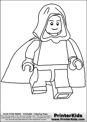 Lego Star Wars - Young Anakin Skywalker - Unpatterned Cloth - Walking in Cloak - Coloring Page
