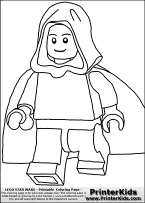 Lego Star Wars - Clipped Young Anakin Skywalker - Unpatterned Cloth - Walking in Cloak - Coloring Page