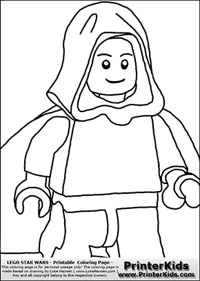 Lego Star Wars - CloseUp Young Anakin Skywalker - Unpatterned Cloth - Walking in Cloak - Coloring Page