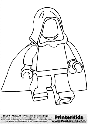 Lego Star Wars - Blank - Young Anakin Skywalker - Walking in Cloak - Coloring Page