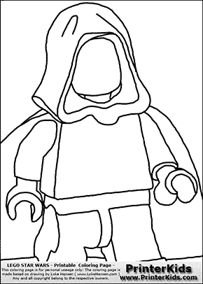 Lego Star Wars - Blank - Clipped Young Anakin Skywalker - Walking in Cloak  - Coloring Page