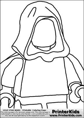 Lego Star Wars - Blank - CloseUp Young Anakin Skywalker - Walking in Cloak - Coloring Page
