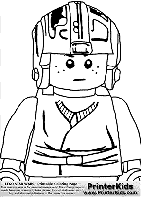 Lego Star Wars - CloseUp Young Anakin Skywalker - Pilot with Helmet  - Coloring Page