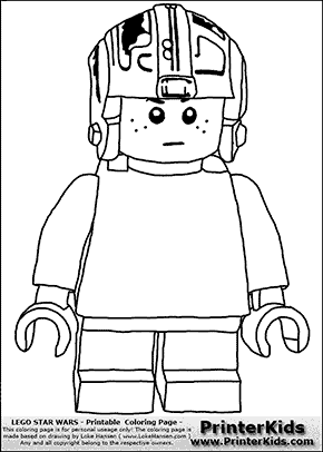 Lego Star Wars - Young Anakin Skywalker - Pilot with Helmet - Patternless Cloth  - Coloring Page
