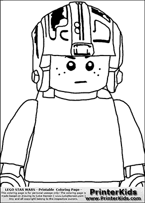 Lego Star Wars - CloseUp Young Anakin Skywalker - Pilot with Helmet - Patternless Cloth - Coloring Page
