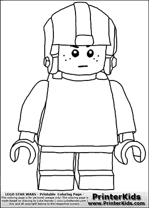 Lego Star Wars - Young Anakin Skywalker - Pilot with Helmet - Patternless Cloth and Helmet - Coloring Page
