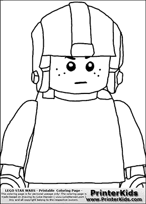 Lego Star Wars - CloseUp Young Anakin Skywalker - Pilot with Helmet - Patternless Cloth and Helmet - Coloring Page