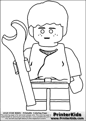 Lego Star Wars - Young Anakin Skywalker - Mechanic with Wrench - Coloring Page