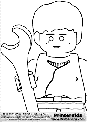 Lego Star Wars - CloseUp Young Anakin Skywalker - Mechanic with Wrench - Coloring Page